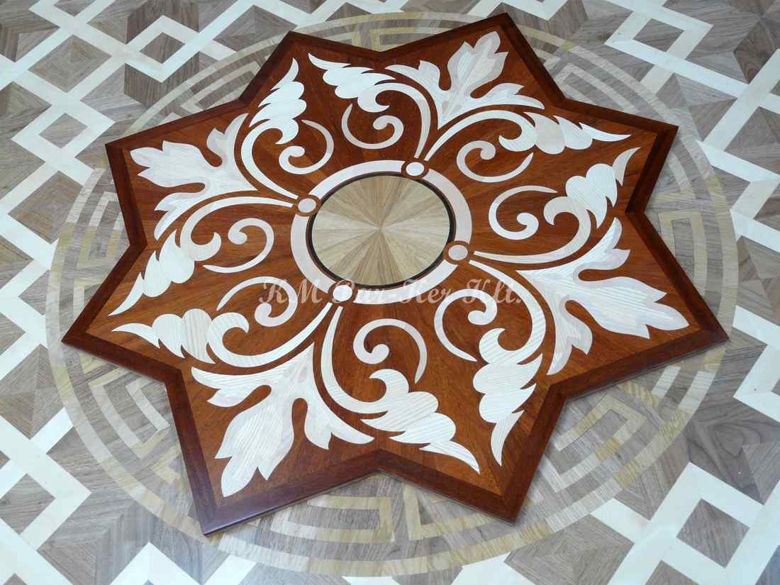 wood inlay floor medallion 10, Star flower