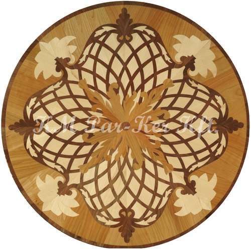 wood inlay floor medallion, Angelica