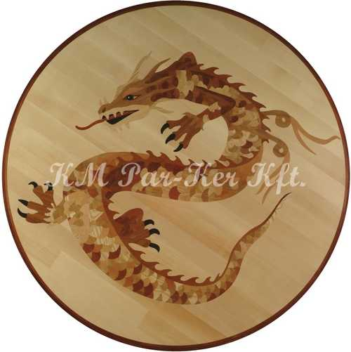 wood inlay floor medallion, Chinese dragon