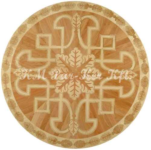 wood inlay floor medallion, Hun 1