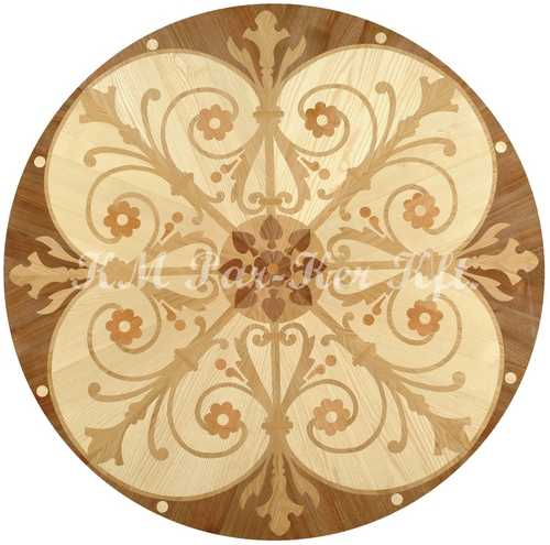 wood inlay floor medallion, Illusion 3