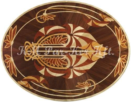 wood inlay floor medallion, Klaudia