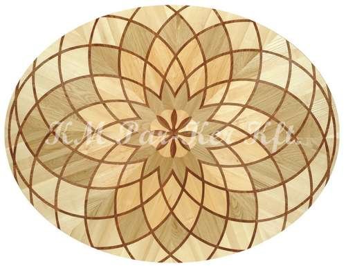 wood inlay floor medallion, Laura 2