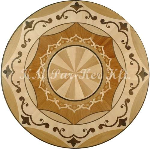 wood inlay floor medallion, Orient