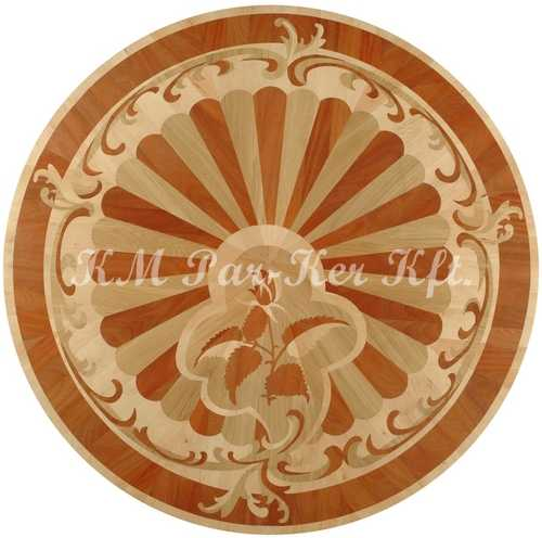 wood inlay floor medallion, Rose 2