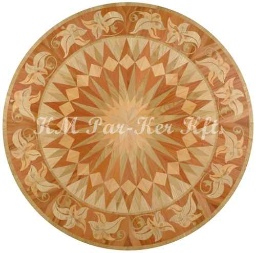 wood inlay floor medallion, Sunflower 2