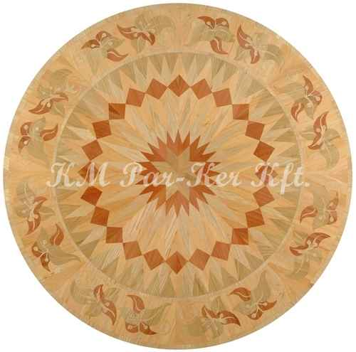 wood inlay floor medallion, Sunflower 3