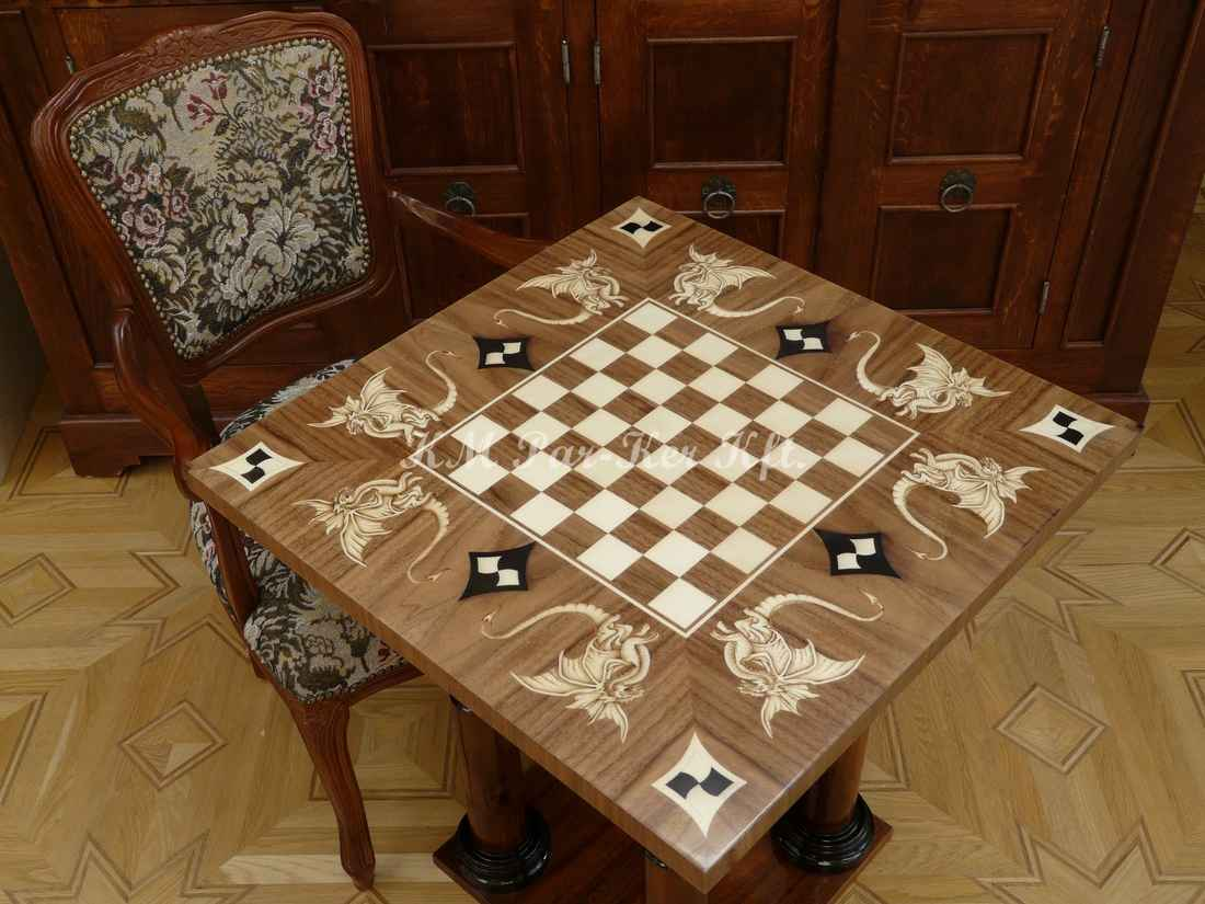 wood inlay table, Chess with dragon