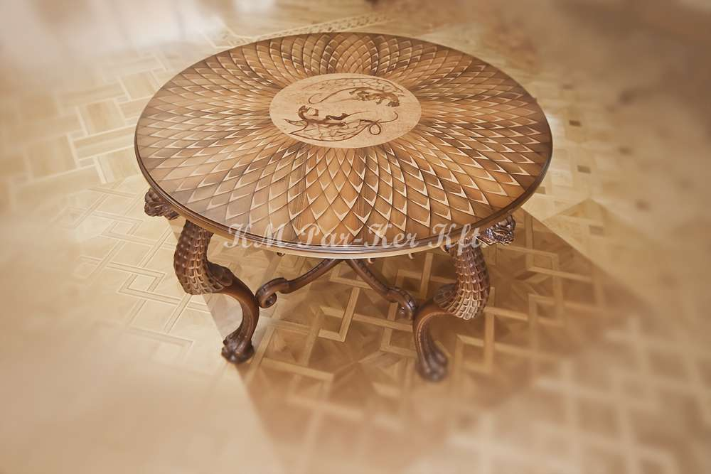 wood inlay table, Dragon