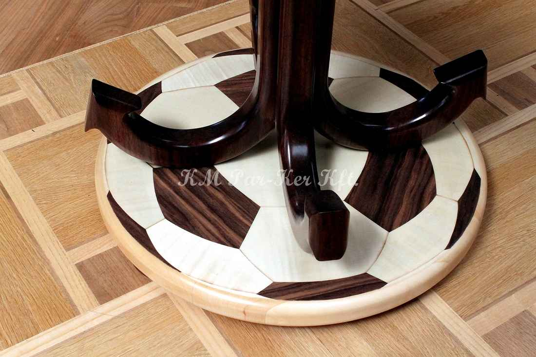 wood inlay table, football