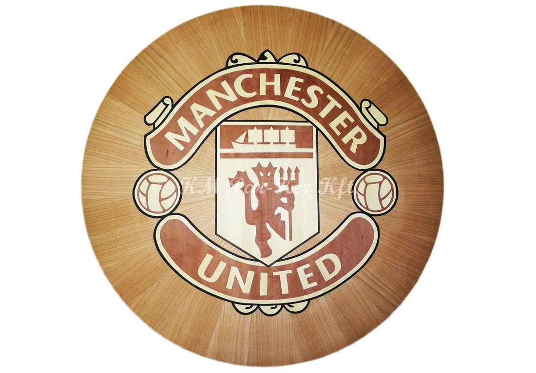 wood inlay table, Football Club Manchester United