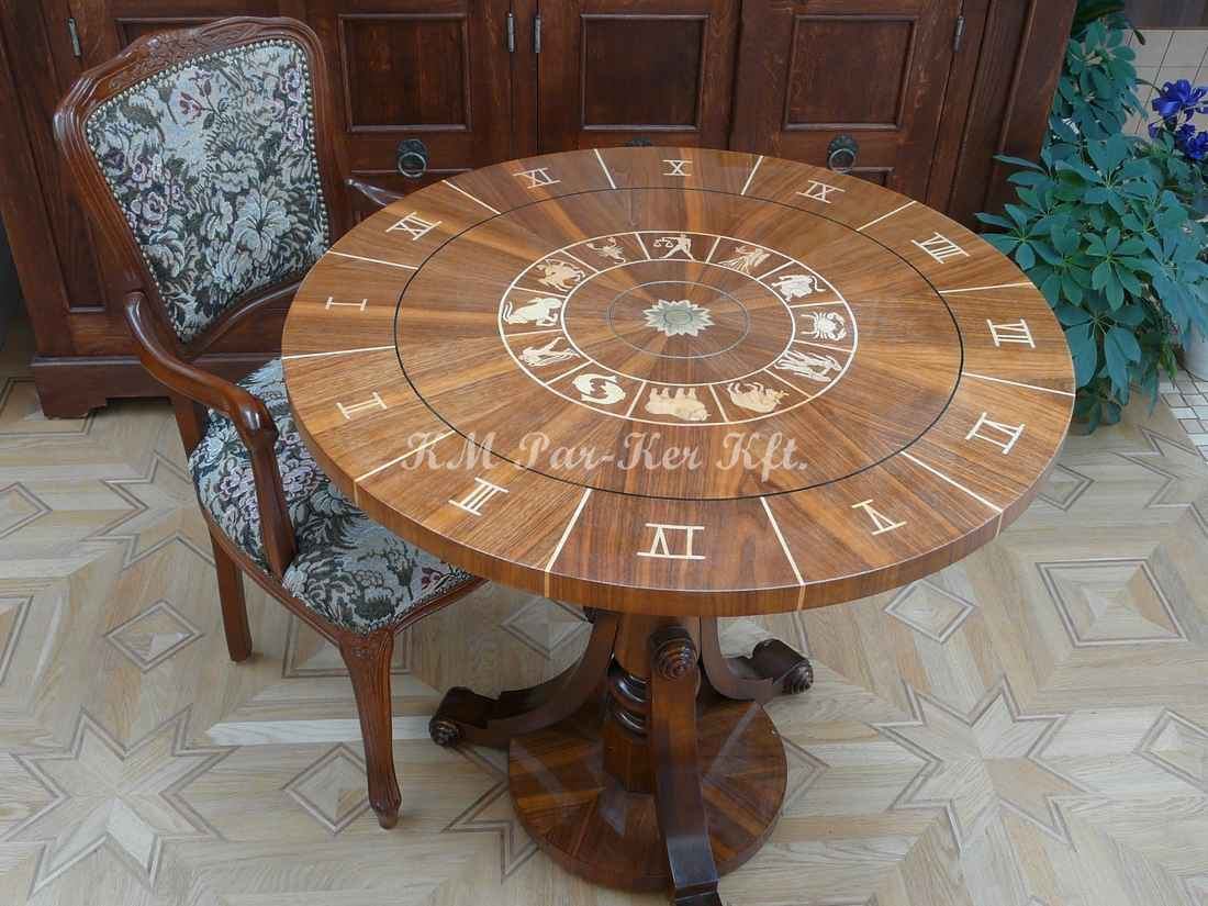 wood inlay table, Horoscope
