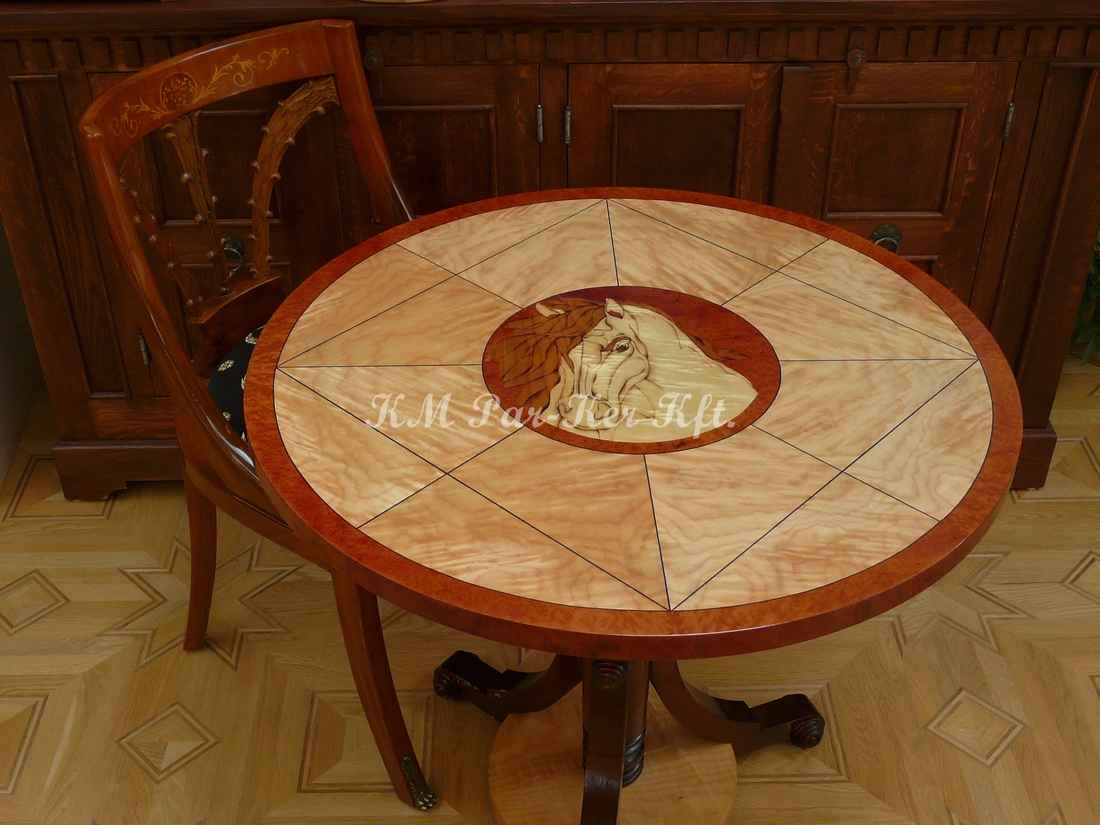 wood inlay table, Horse from Sycamore