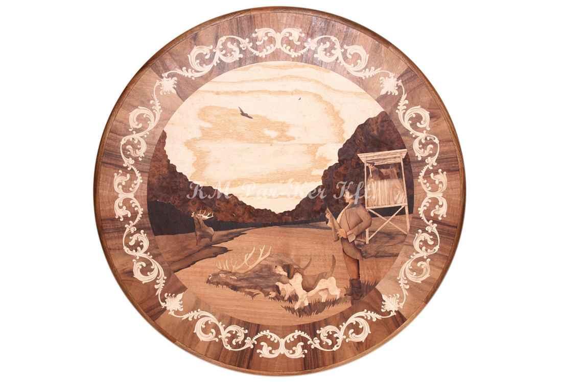 wood inlay table, Hunter