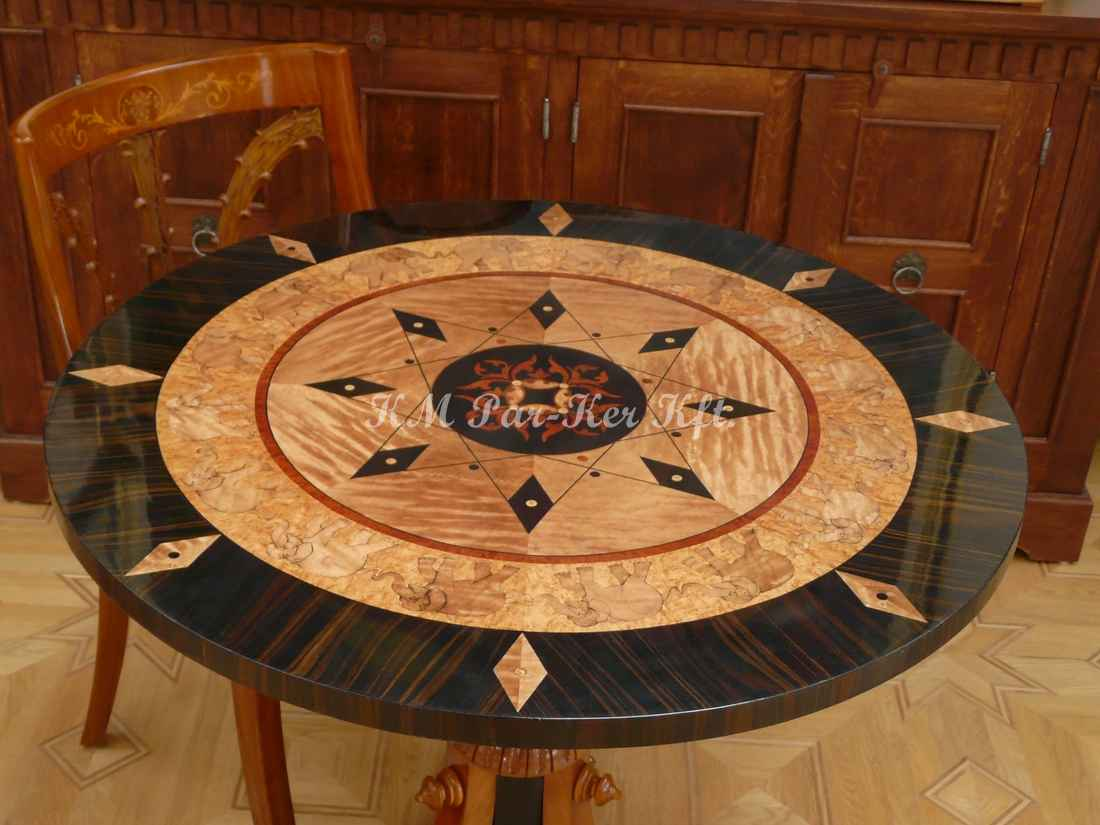 wood inlay table, Indian Elephant from sycamore