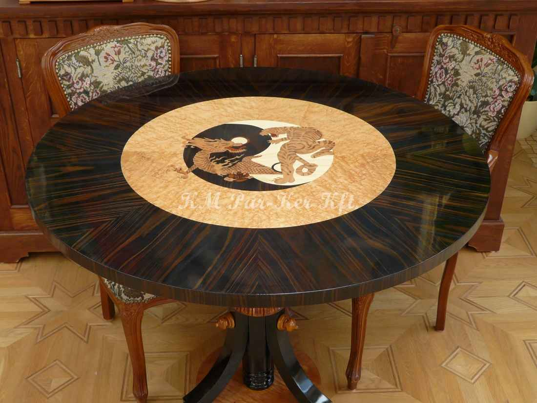 wood inlay table, Jin Jang