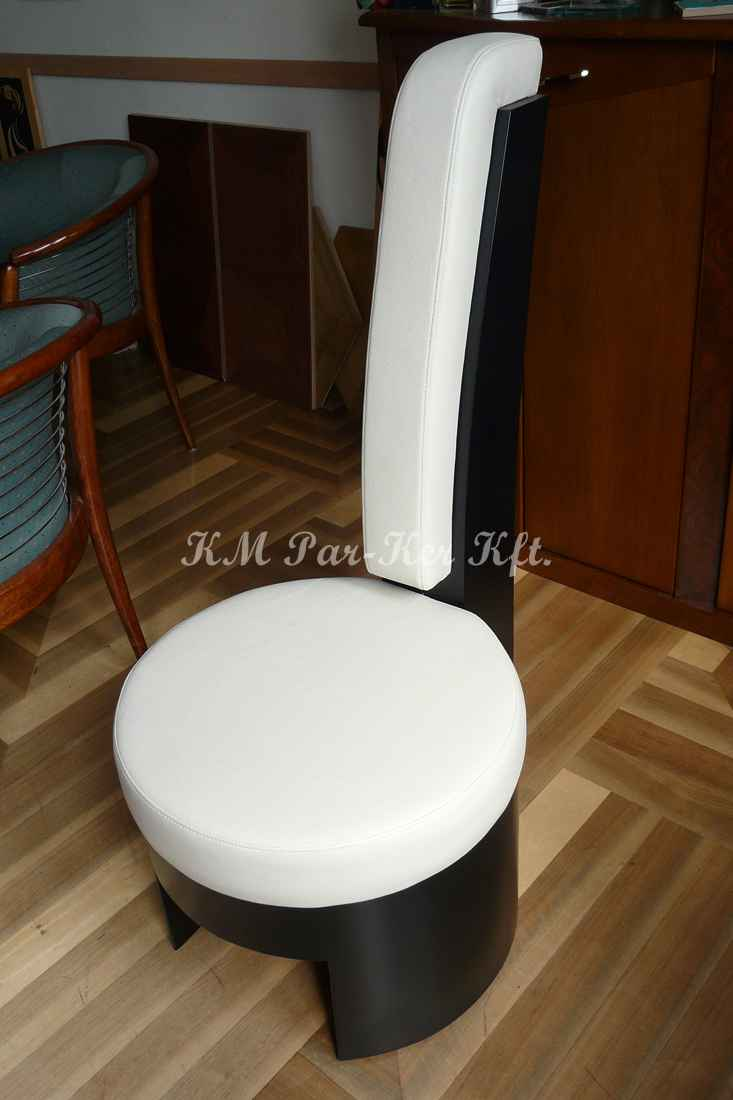 egyedi bútor 27, modern szék, bőr, fekete-fehér