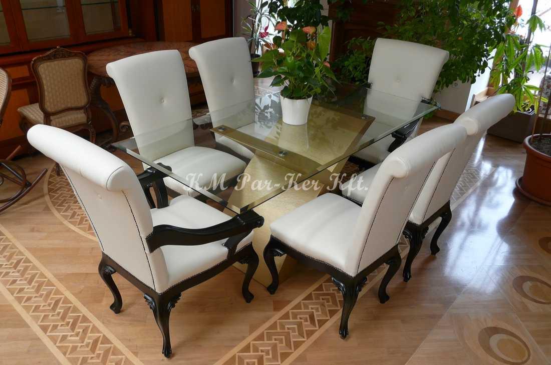egyedi bútor 86, étkező, faragott bőr szék