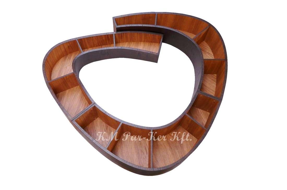 egyedi bútor készítés 02, íves csiga könyvespolc