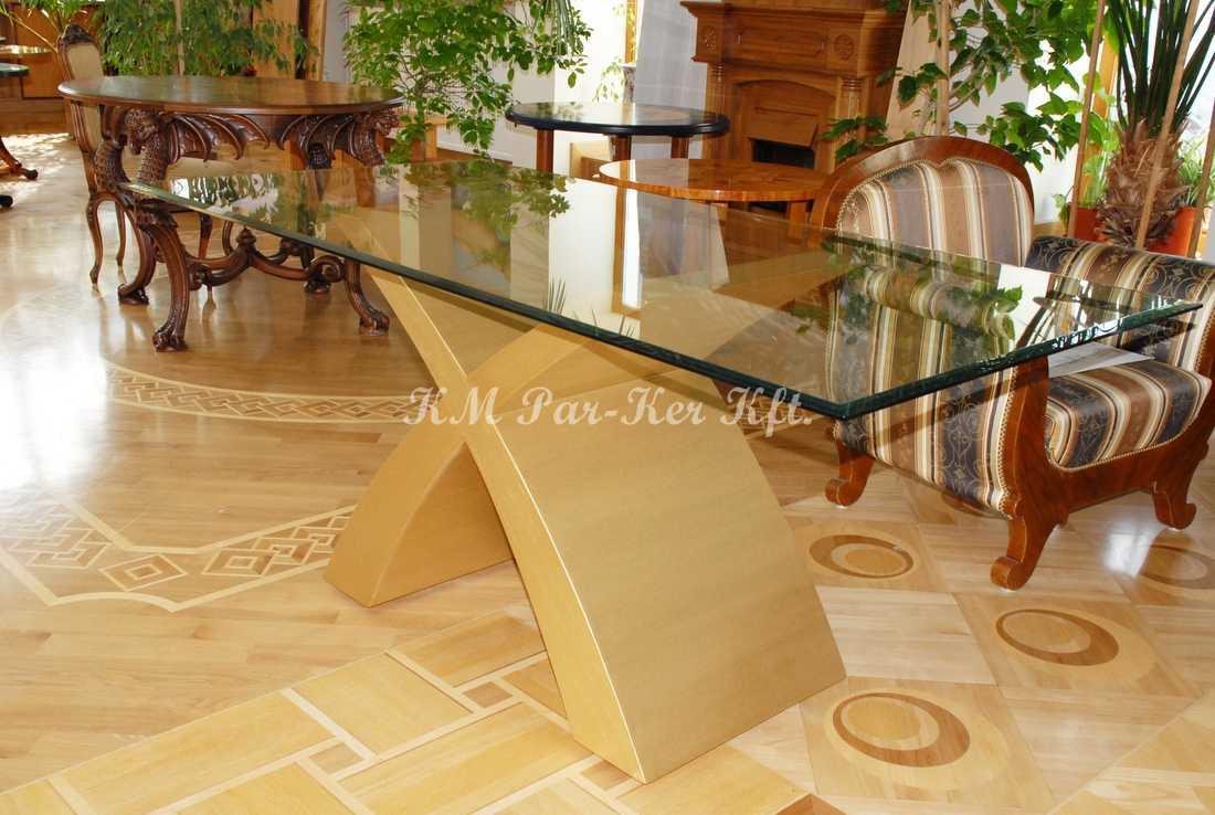 fabrication de meuble sur mesure 27, table salle à manger en or