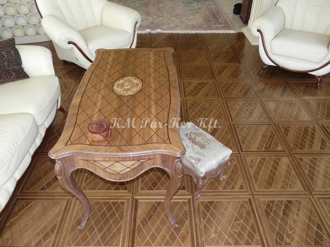 fabrication de meuble sur mesure 68, table basse marqueterie, parquet