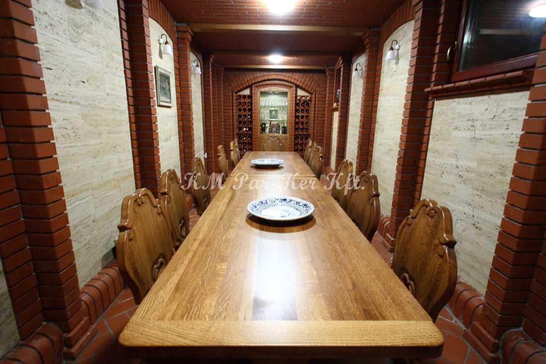 fabrication de meuble sur mesure 70, table et chaise rustique cave à vin