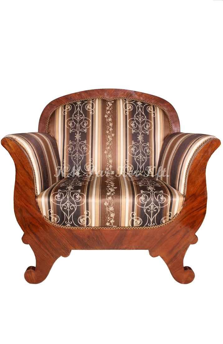 fabrication de meuble sur mesure 86, fauteuil recouvert de tissu