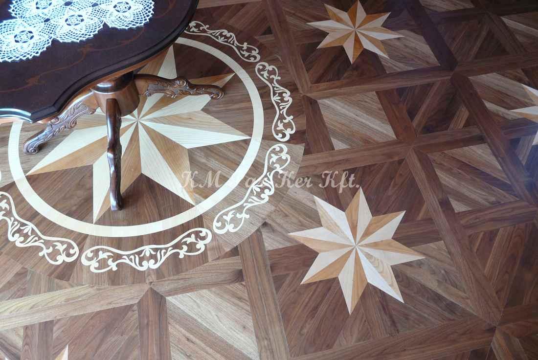 médaillon, rosace de parquet en marqueterie 06, Star