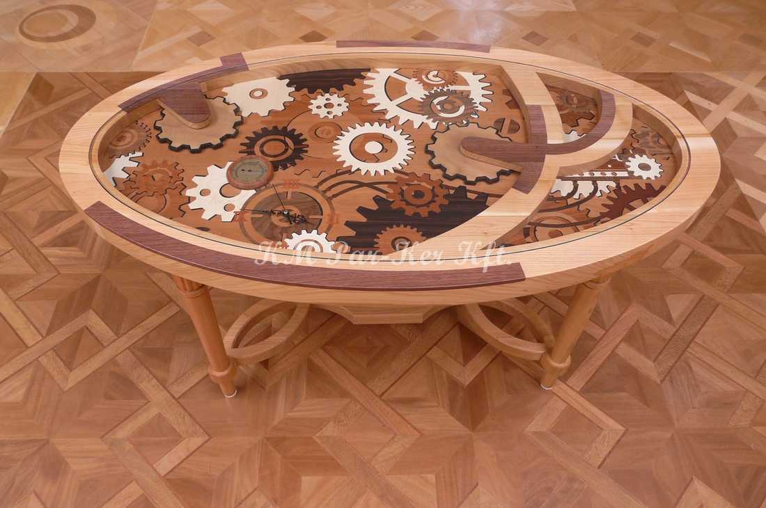 meuble marqueterie 81, table basse de salon, horloge