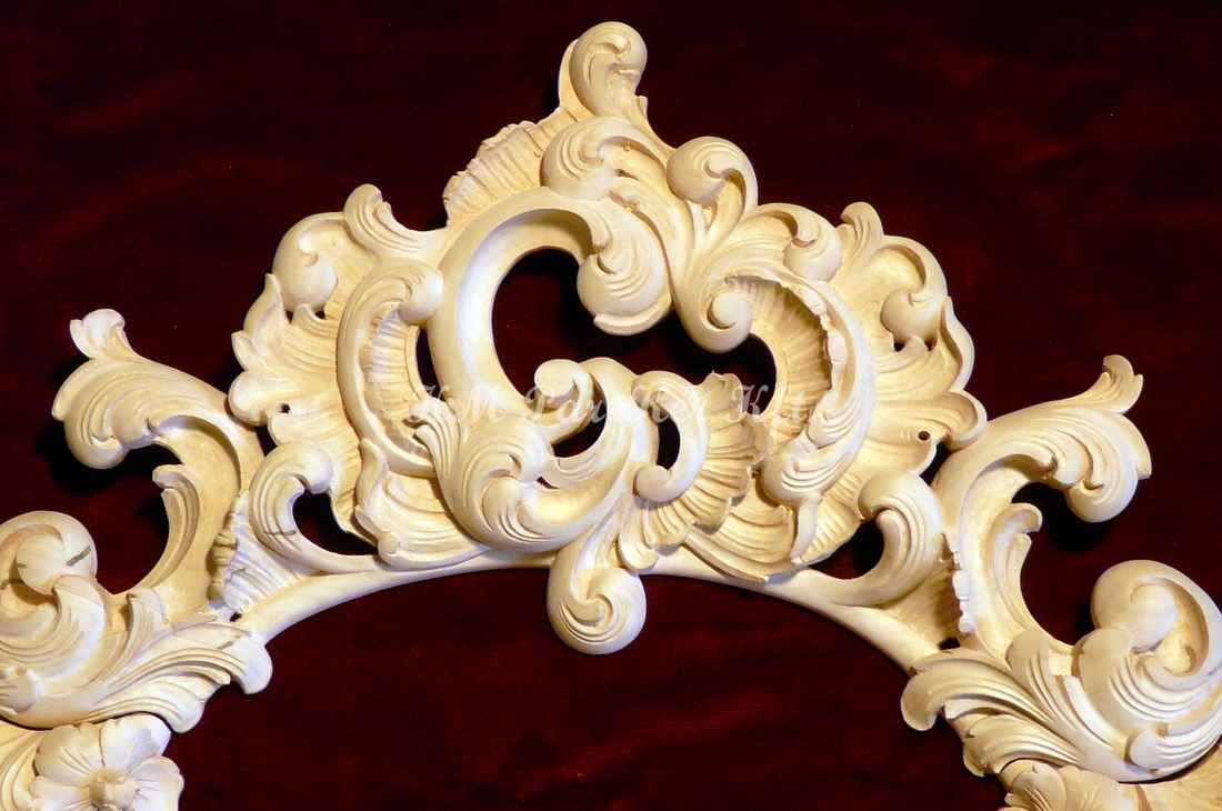meuble sculpté 40, bordure de miroir baroque sculpture