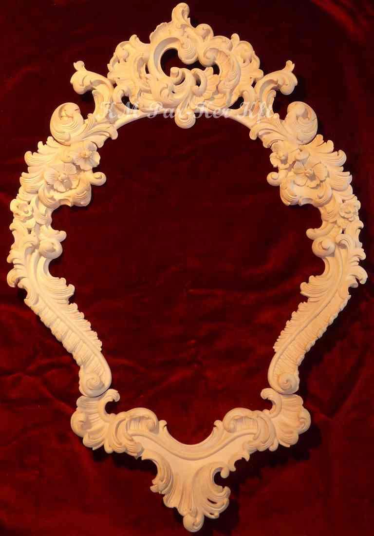 meuble sculpté 41, bordure de miroir baroque