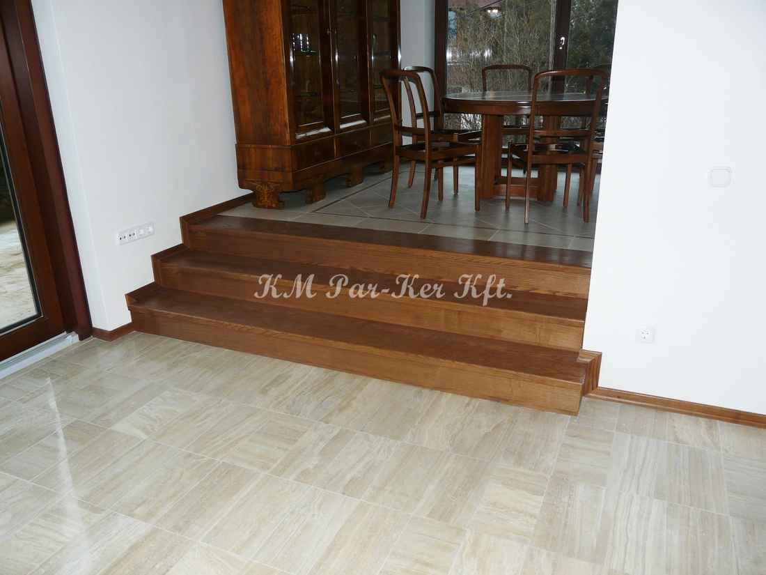 fa lépcső 19, olajos, pácolt tölgy
