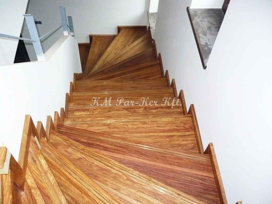fa lépcső 43, rózsafa, réz csúszásgátlóval