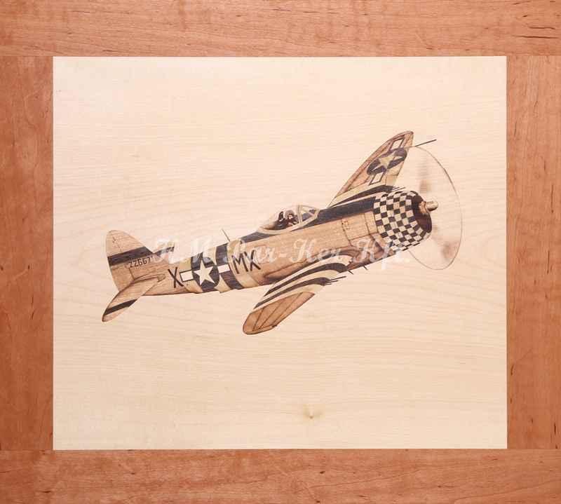 intarzia kép -P 39 vadászgép