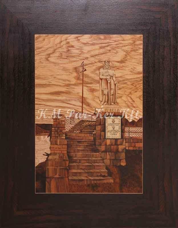 intarzia kép -Visegrád, IV. Béla