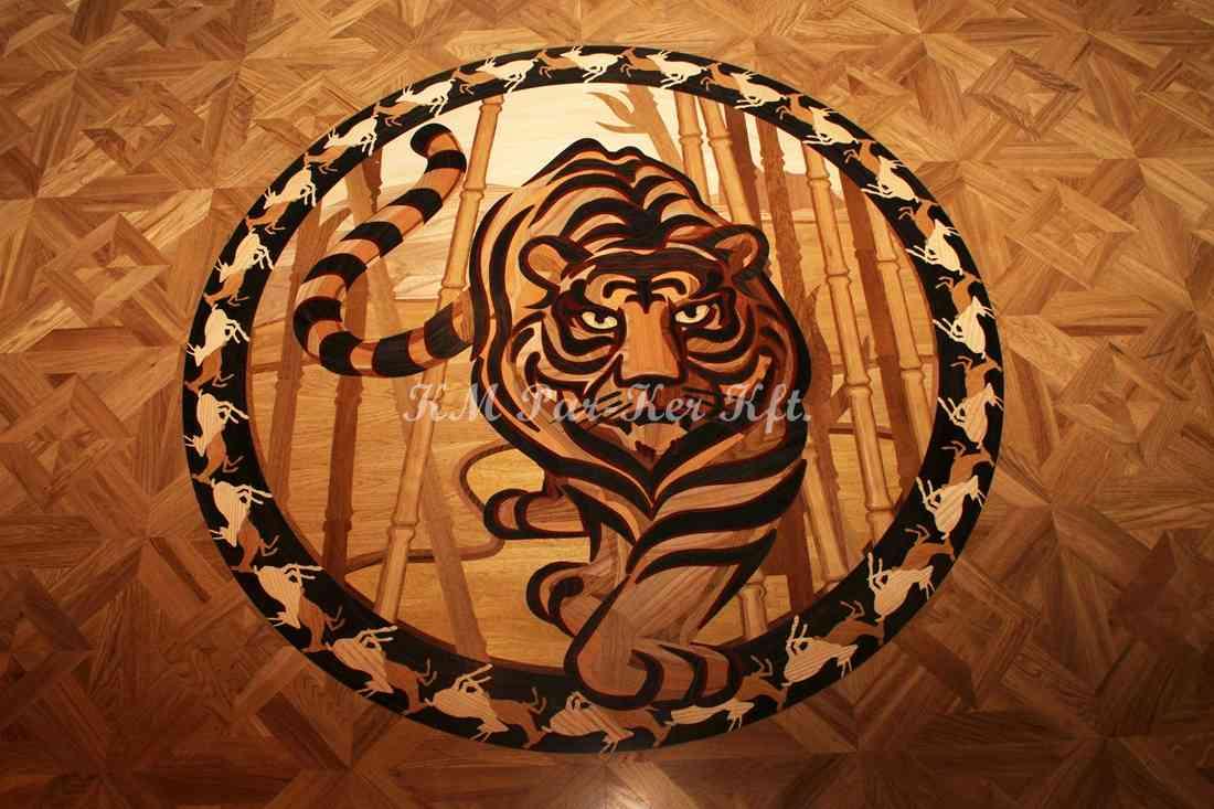 intarzia parketta érme 15, Tigris