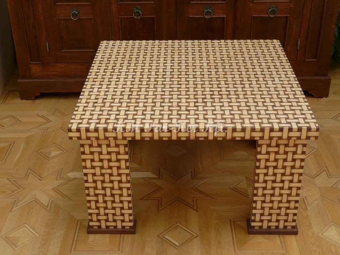 intarziás asztal, Fonott