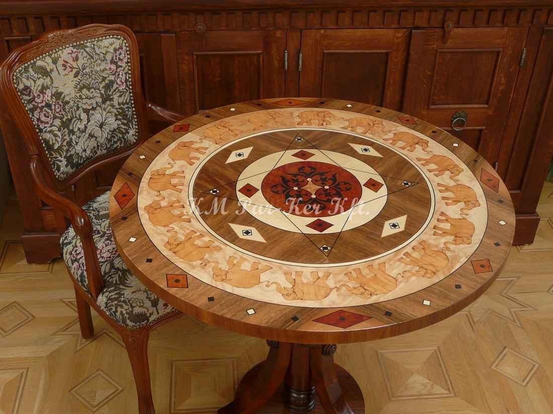 intarziás asztal, Indiai elefántos dió