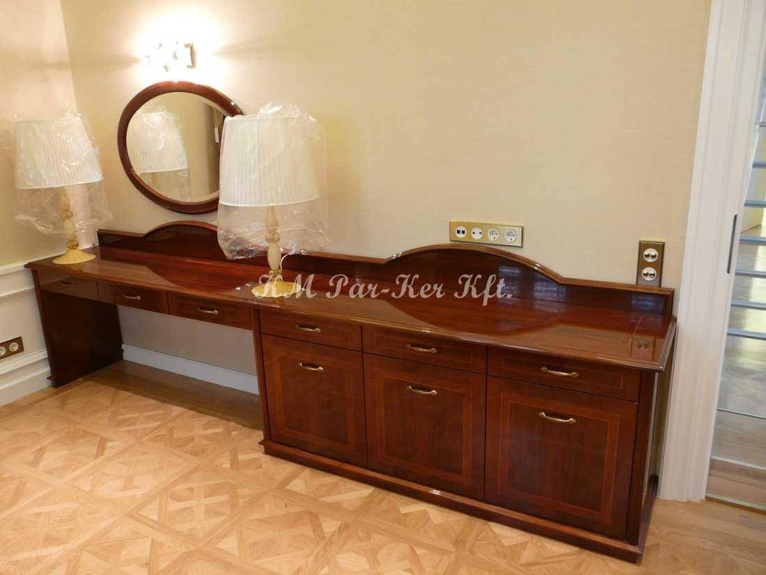 intarziás bútor 56, fésülködő komód, magasfényű