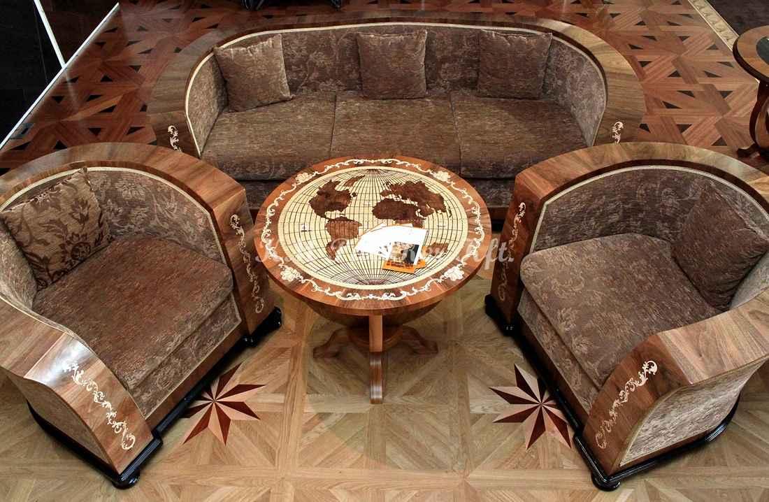 intarziás bútor 69, asztal, kanapé