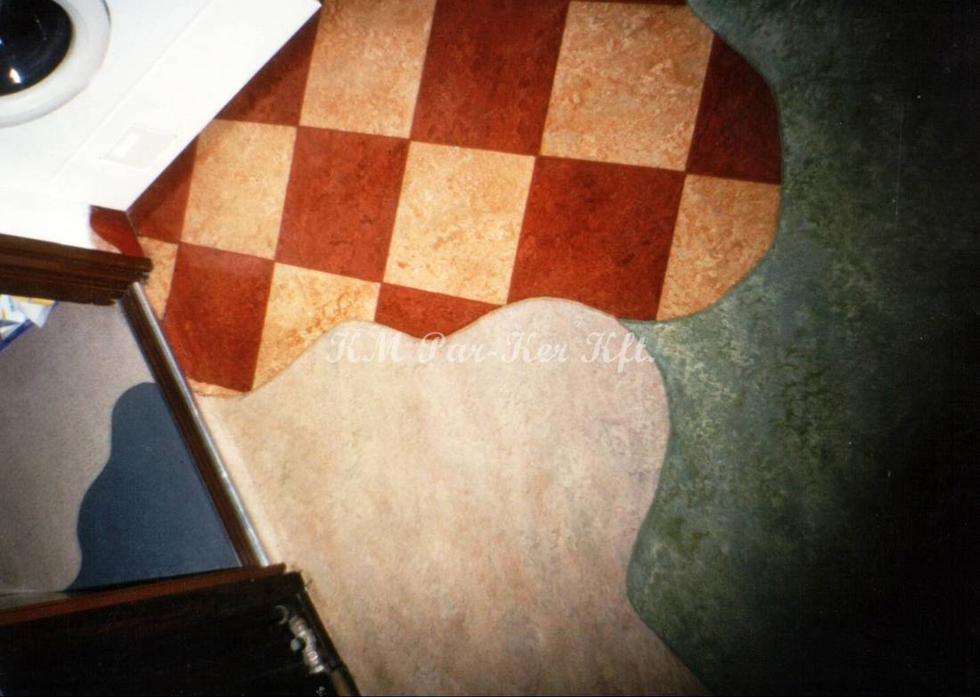 linóleum padló 26, intarzia mintás