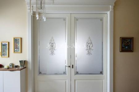 beltéri ajtó, nyílászáró, savmaratott mintás üveg