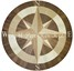 wood inlay floor medallion, Compass