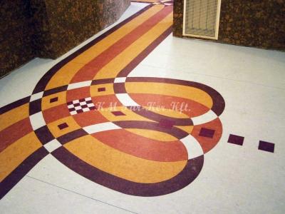linóleum padló, intarzia mintás, Wesselényi Közalapítvány