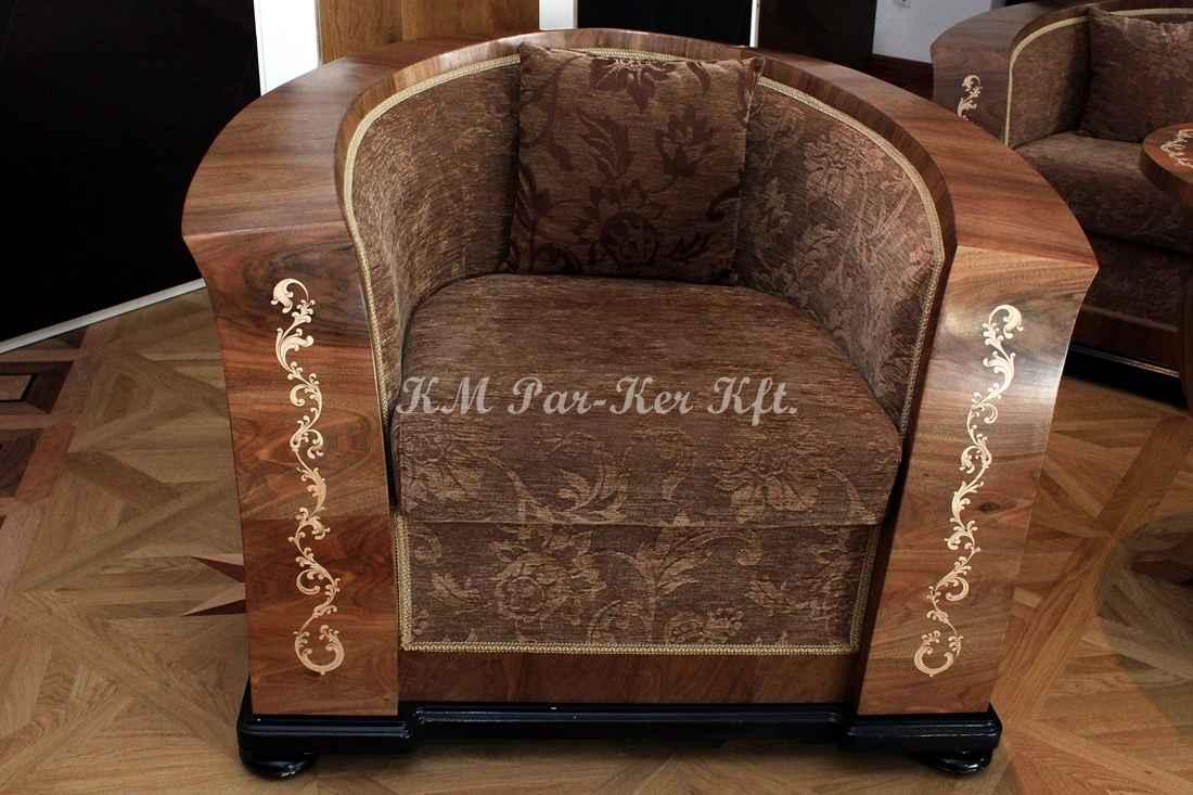 ülőgarnitúra bútor 05, intarziás neobarokk fotel