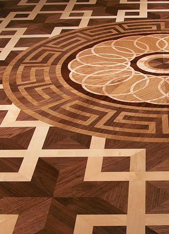 wood inlay floor medallion_