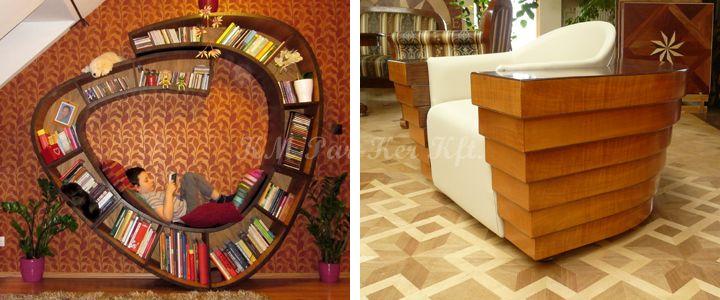 egyedi bútor -csiga könyvespolc, lépcsős fotel