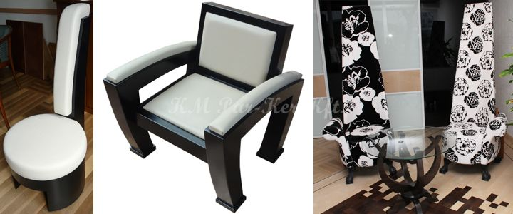 egyedi bútor modern fotel, szék fekete fehér