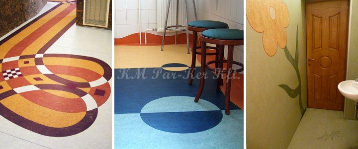 linóleum padló, falburkolat intarzia