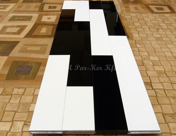 telibe festett modern parketta, fekete-fehér
